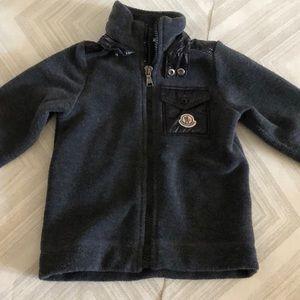 Moncler Boys Grey & Black Fleece Zip-Up Jacket